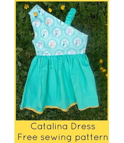 Free Pattern Catalina Girls One Shoulder Dress Sewing