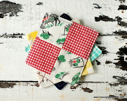 Tutorial: Vintage scrappy patchwork coasters