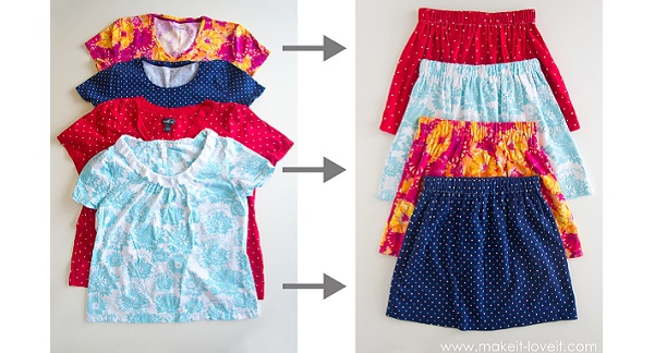 Tutorial: Girls 10-minute skirt made from a shirt