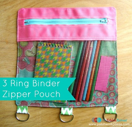 Tutorial 3 ring binder zipper pouch sewing for American crafts 3 ring scrapbook album binder