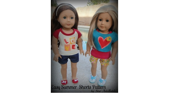 Free pattern: Easy sew summer shorts for an American Girl doll