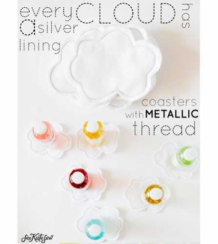 Tutorial: Silver lining felt cloud coasters