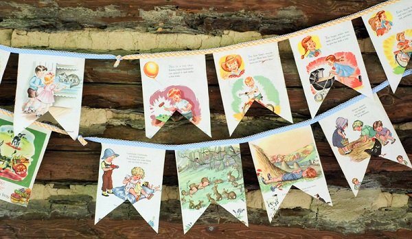 Tutorial: Vintage cloth baby book bunting
