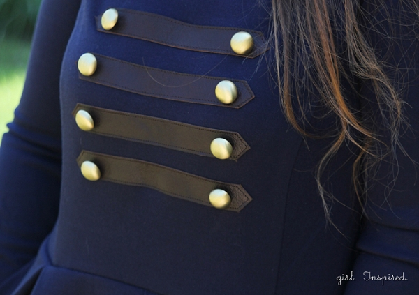 Tutorial: Create military-inspired accents for a dress
