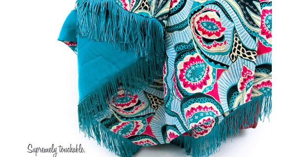 Tutorial: Linen & rayon quilted and fringed throw