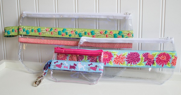 Tutorial: Ribbon and clear vinyl zippered pouch in 3 sizes