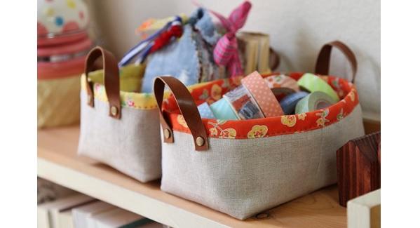 Tutorial: Leather handle fabric storage baskets