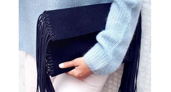 Tutorial: Make this fringed leather clutch, no sewing required