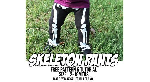 Free pattern: Toddler skeleton pants