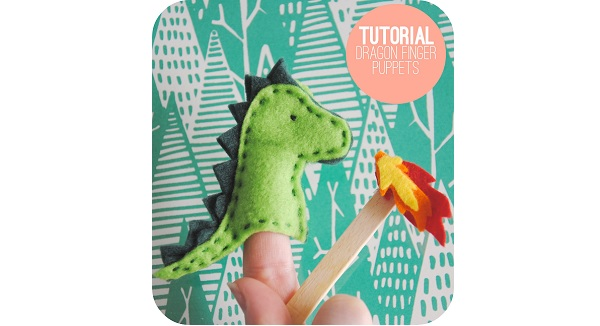 Free pattern: Felt fire-breathing dragon finger puppet