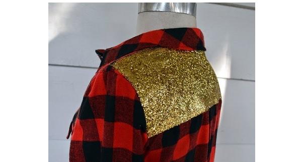 Tutorial: No-sew glitter yoke plaid shirt