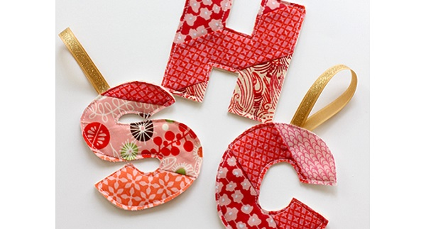 Tutorial: Patchwork initial Christmas ornament