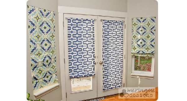 Tutorial: How to make Roman shades for French doors - Sewing