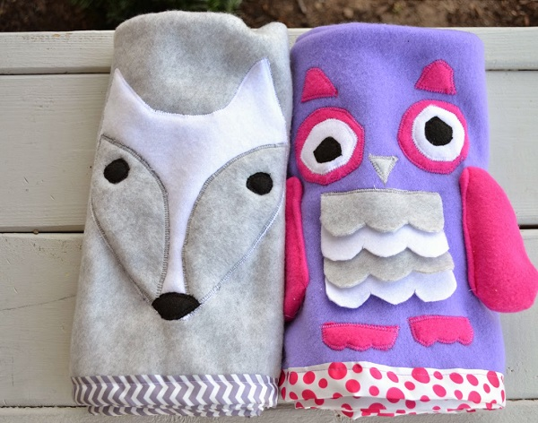 Tutorial: Animal roll-up fleece blankets