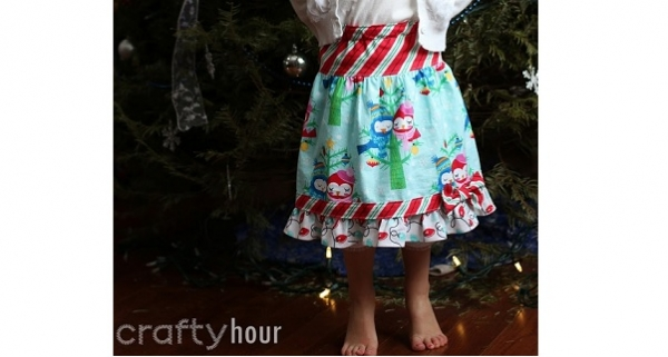 Tutorial: Little girls gathered skirt with a ruffle and a bow