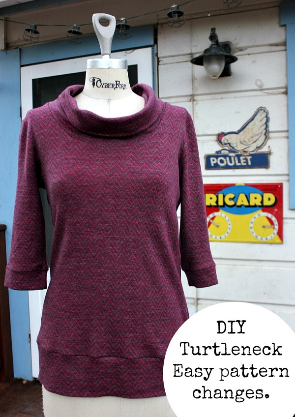 Tutorial: Make a turtleneck using a t-shirt pattern