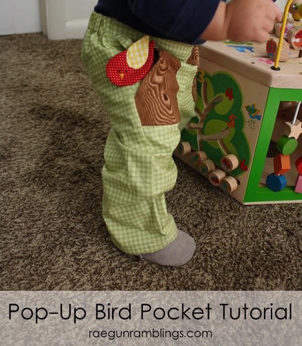 Tutorial: Pop-up bird pocket on baby pants