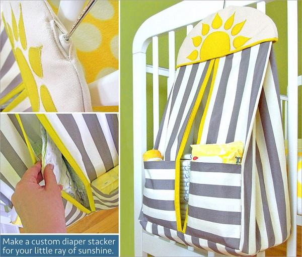 Tutorial: Sunshine applique diaper stacker