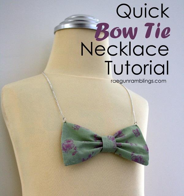 Tutorial: Fabric bow tie necklace