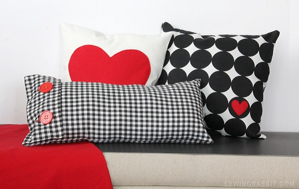Tutorial: Valentine's heart and gingham pillows