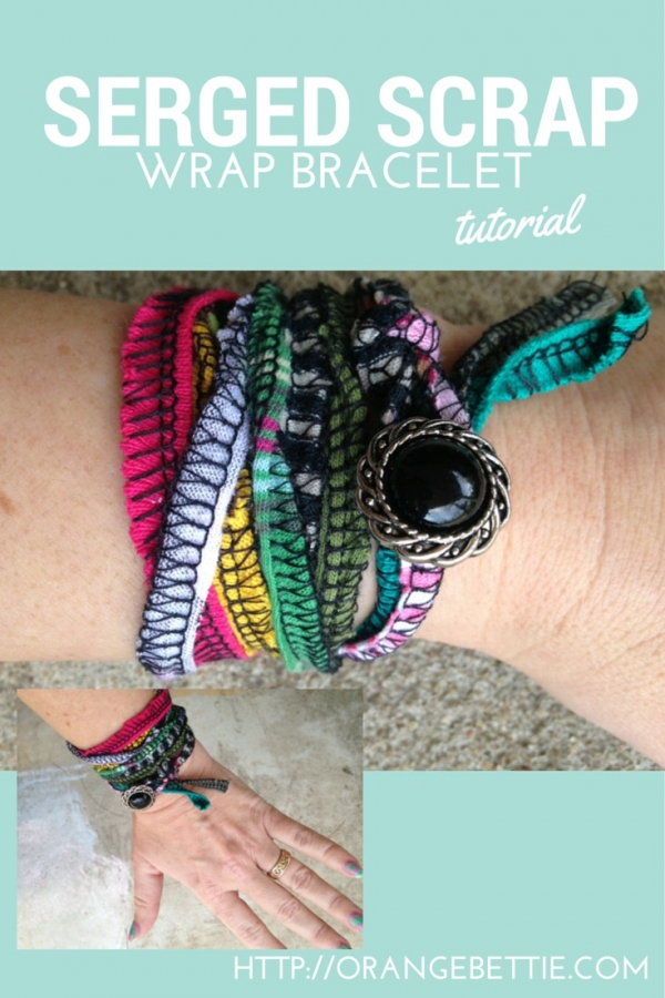 Tutorial: Serged knit scrap wrap bracelet