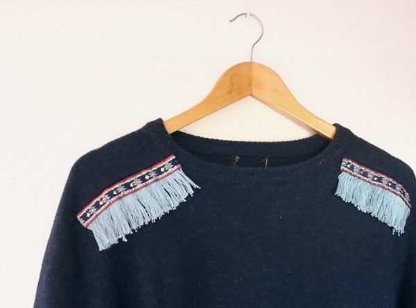 Tutorial: Fringe shoulder sweater