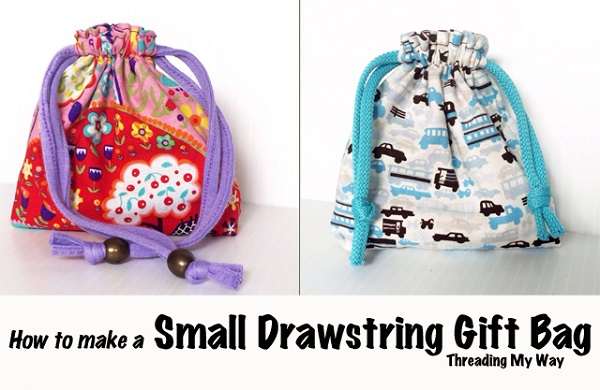 Tutorial: Small drawstring gift bag