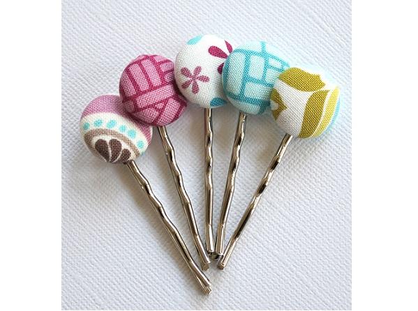 Tutorial: Covered button hair pins