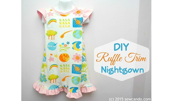 Tutorial: Little girls ruffle trim nightgown