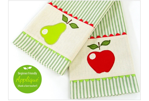 Tutorial: Pear and apple kitchen towels