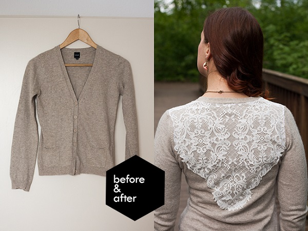 Tutorial: Add a lace overlay to a plain cardigan