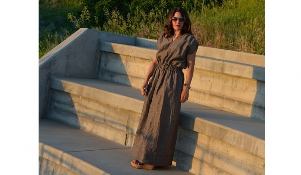 Easy Ruched Linen Maxi Dress-7494