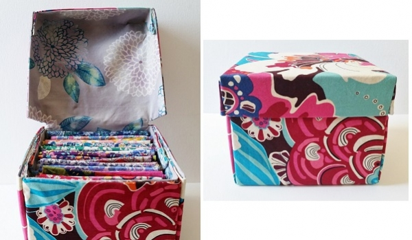 tutorial pretty fabric boxes with hinged lids sewing. Black Bedroom Furniture Sets. Home Design Ideas
