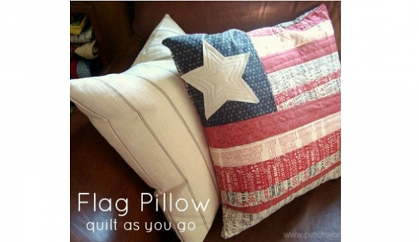 Tutorial: Quilt as you go flag pillow