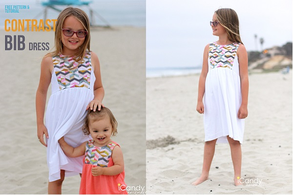 Free pattern: Girls summer dress with a contrast bib bodice