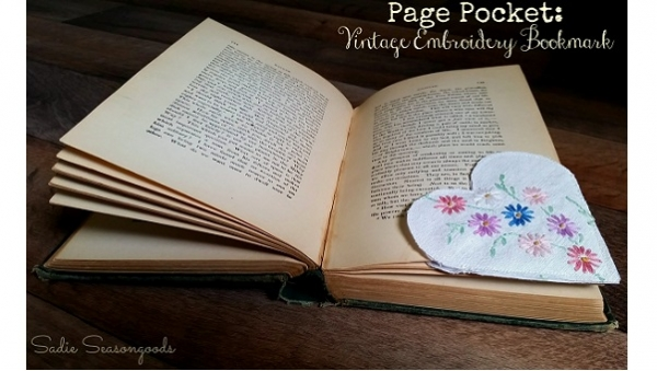 Tutorial: Page Pockets bookmarks from damaged vintage linens