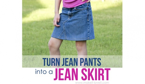 Tutorial: Jeans too short? Turn them into a jean skirt