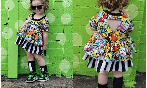 Free pattern: Little girls Nova Dress with triangle cut out back