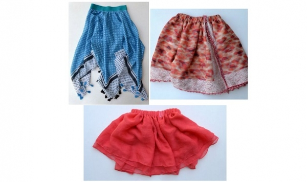 Tutorial: 3 ways you can make little girls' skirts from scarves