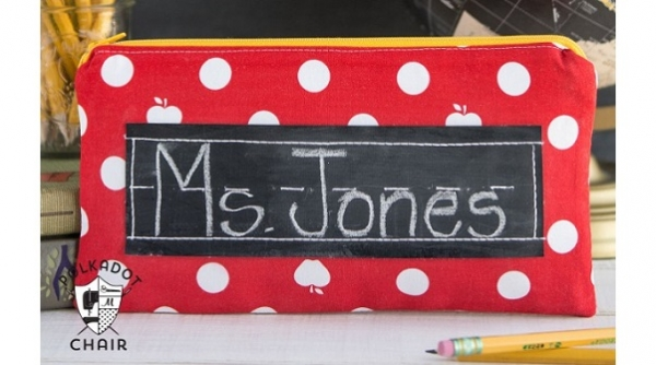 Tutorial: Back-to-school pencil pouch with chalkboard handwriting panel