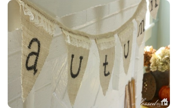 Tutorial: Burlap and lace autumn bunting