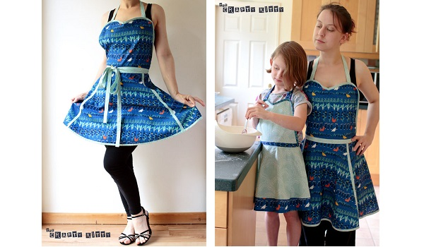 Free pattern: Retro apron with sweetheart neckline