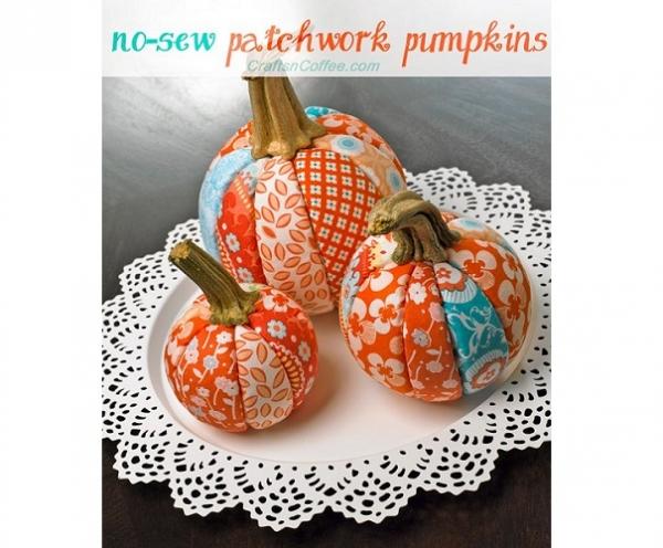 Tutorial: No-sew patchwork pumpkins