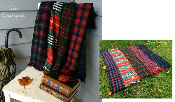 Tutorial: Patchwork throw blanket from thrifted scarves