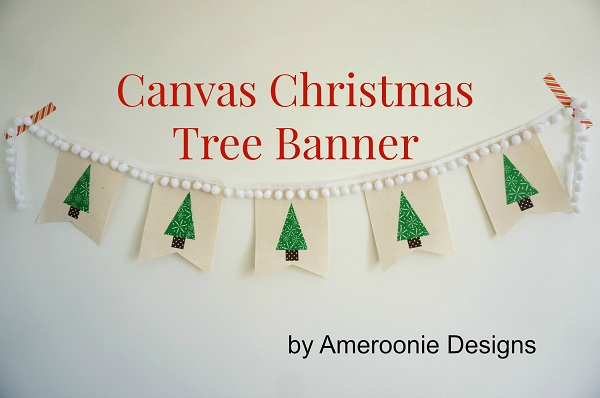 Tutorial: Canvas and pom pom Christmas tree banner