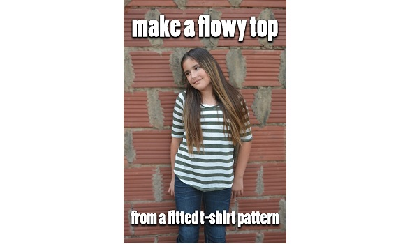 Tutorial: Make a flowy or swing top from a fitted tee pattern