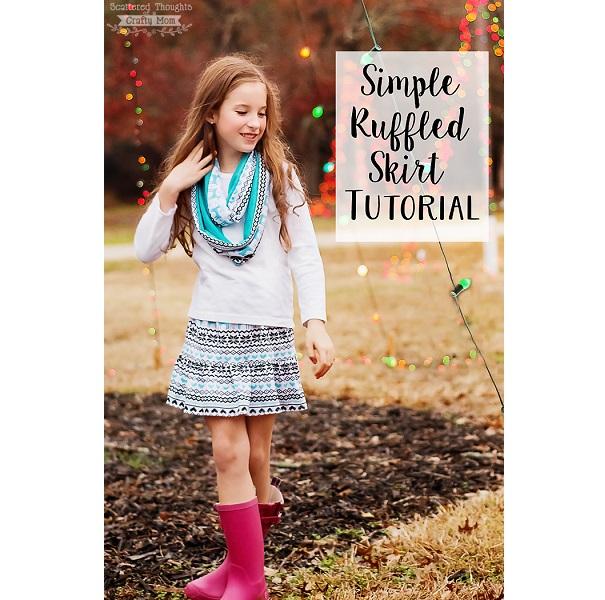 Tutorial: Easy ruffle hem knit skirt for girls