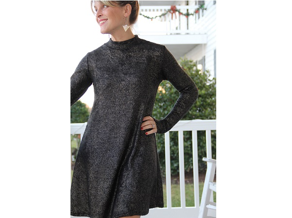Tutorial Mock Turtleneck Swing Dress Sewing