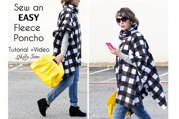 Tutorial: Easy cowl neck fleece poncho
