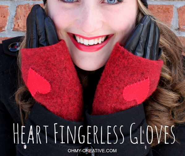 Tutorial: Wool heart fingerless gloves